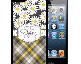 Personalized Rubber Case For iPhone X, 8, 8 plus, 7, 7 plus, 6s, 6s plus, 5, 5s, 5c, SE - Daisy Gray Plaid