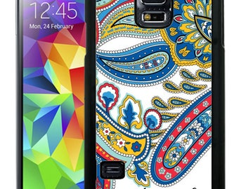 Personalize Rubber Case For Samsung Note 3, Note 4, Note 5, or Note 8- White Blue Paisley