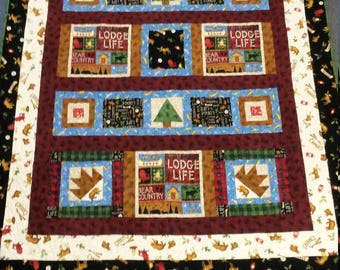 Handmade, Woodsy, Quilt for sale, twin quilt, throw quilt, patchwork quilt, Bed quilt, ready to ship,