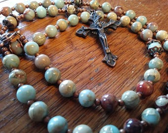 Catholic Rosary, Snakeskin Jasper Stone, Semi-Precious, Gemstone, Heirloom Quality, 5 Decade Rosary, Flex Wire Rosary