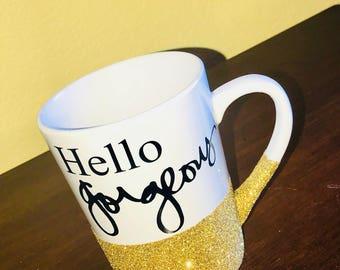 Hello Gorgeous coffee mug, glitter coffee mug, glitter coffee cup, glitter mug, glitter cup, gold glitter, inspirational mug, beautiful mug