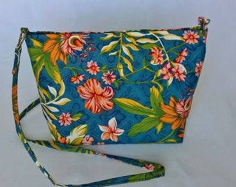 Tropical Hibiscus and Frangipani print handbag