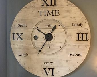 Rustic spool wall clock