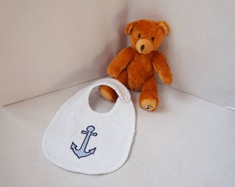 Baby towel bib reversible gingham sky and ground ink/sailor boy white Terry cloth