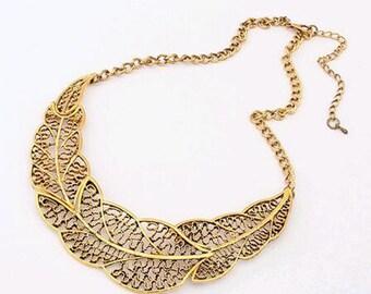 Gold leaf statement  necklace