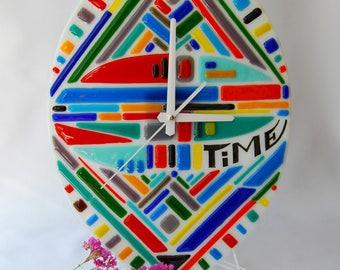 Fused Glass Wall Clock, Unusual design clock, Oval shape clock, Fusing clock, Wall decor, Wall hanging, Home decor, Living decor, Gift.