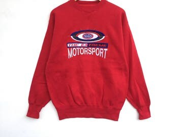 Rare!! Nhra The Extreme Motorsport Sweatshirt Red Colour big logo Spell Out Pull Over Embroidery