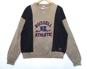 Rare!! Russel athletic Sweatshirt big logo colour block Spell Out Pull Over big embroidery