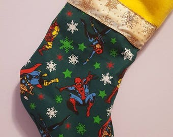 Marvel Christmas/ marvell/ spiderman/ ironmnan/ thor/ captain america/ hulk/ black widow/ nerdy/ christmas/ stockings/ marvel/ green