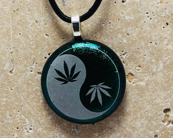 Marijuana Leaf Fused Glass Pendant