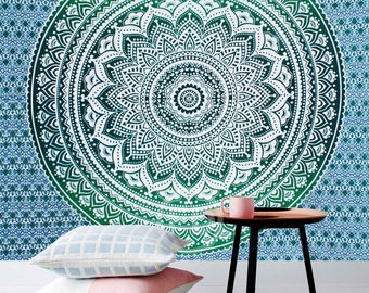 Boho Queen Size Mandala Tapestry - Dark Green Star