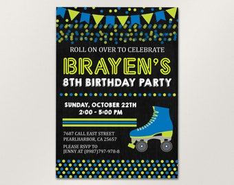roller skate party invitation roller skating invitation roller skate invite editable roller skate - Roller Skating Birthday Party Invitations