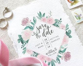 Watercolour Rose Wedding Save The Date - Blush Floral Wedding Save The Date - Rustic Wedding Save The Date