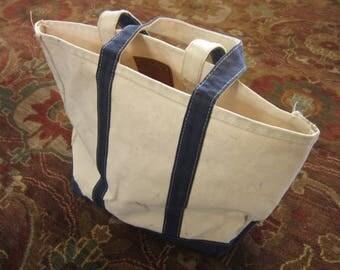 Vintage GH Bass Canvas Tote Bag / Blue White Cotton, Boat Tote, Heavy Duty, L.L. Bean Style