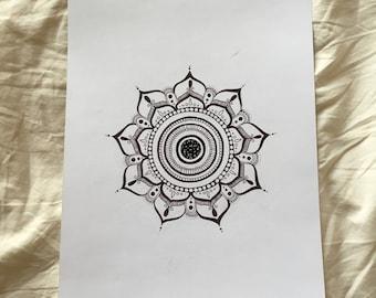 Hand-drawn mandala on white card - 'The Hollie Mandala'