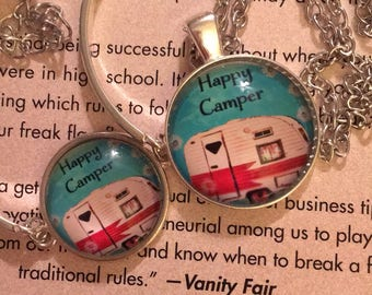 Happy Camper Necklace And Bracelet Set.  Camping, Glamping Great Gift Idea!
