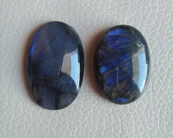 Blue Labradorite Cabochons 138 Carat, Natural Fine Rainbow Blue Flash 40x26x10, 35x25x11 MM Approx, Rainbow Labradorite Jewelry Supplies.