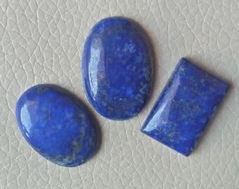 Beautiful Blue Lapis Cabochon 90 Carat, Natural Lapis Cabochon,Blue Lapis for Jewelry Making Stone, size 31x22x7, 26x17x7, 28x20x6 MM Approx