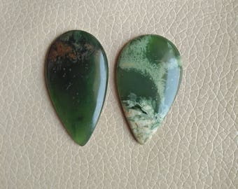 Natural Serpentine Pear Shape 02 Piece Gemstone Cabochon, Serpentine Stone, Serpentine Weight 72 Carat and Size 44x26x6, 45x24x6 MM Approx.