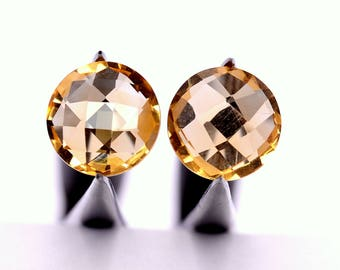 Certified Natural Citrine Round Checker Cut Pair 10 mm 5.81 CTS Loose Gemstones