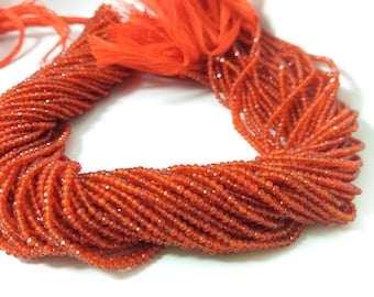 2-2.5mm Micro Carnelian Faceted Rondelle Beads - Natural Carnelian faceted Beads - Tiny carnelian Beads - Wholesale Micro Faceted Beads
