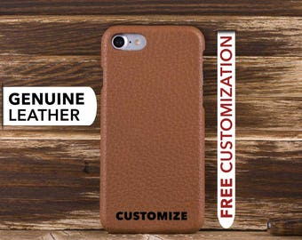 Leather iPhone 8 Case, Personalized iPhone 8 Plus Cover, Genuine Leather Case for iPhone 8 / 8 Plus, iPhone 8 Custom Engrave Case, Tan