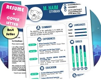 Resume Template | Modern Navi | Resume Template + Free Cover Letter | Instant Download for PowerPoint