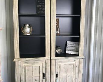 Rustic Cream and Olive farmhouse bookshelves