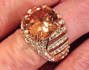 14k Gold Plated Large Cognac & Clear Austrian Crystal  Ring Size 7