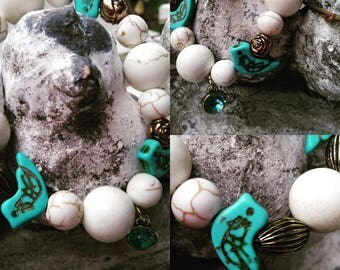 Marble bead and birdie bracelet