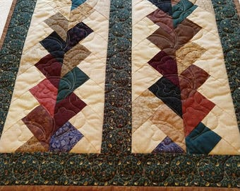 Handmade Pieced Patchwork Cotton Green Brown Red Blue Quilted Table Chair Cover Wall Hanging Decor Mini Quilt