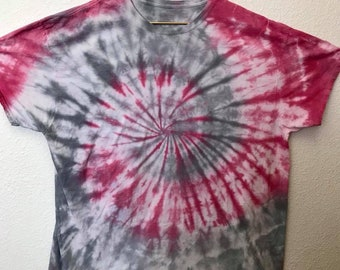 3XL Gray & Red Swirl Tie Dye T-Shirt