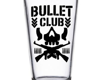 Bullet Club WWE Wrestler Wrestling Pint Wine Glass Tumbler Alcohol Drink Cup Barware Squared Circle