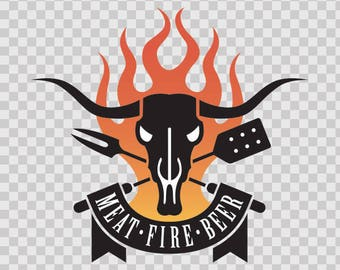 Stickers decal Meat Fire Beer Barbecue BBQ home Vinyl 10262