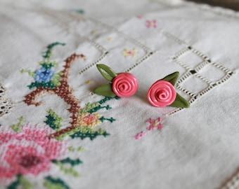 Hand-Sculpted Rose Bud Stud Earrings