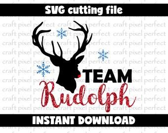Rudolph Svg Cut File, Team Rudolph Svg, Christmas Svg File, Reindeer Svg, Santa Claus Deer Svg, Santa Reindeer Svg, Antlers Svg, Deer Svg