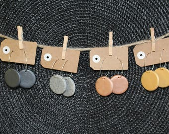 Circle Hoop polymer clay earrings
