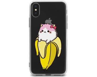 iPhone X case banana cat iPhone 8 plus case kitty iphone 8 case iPhone 8 case kawaii cat iPhone 7 plus case cat iphone 5 iphone7 case clear