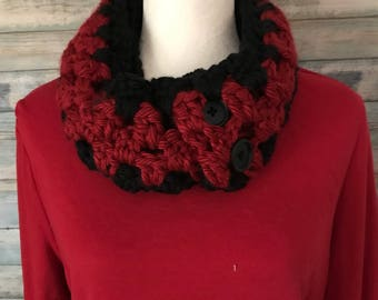 Black and red hand crocheted scarf(FREE SHIPPING)