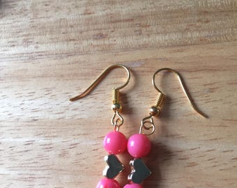 Pink coral earrings