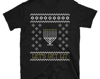 Let's Get Lit Funny Hanukkah Ugly T Shirt for Men Women