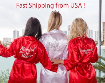 Maid of Honor Robe, Satin Maid of Honor Robe, Maid of Honor Gift, Bridal party robes, Satin Kimono Robe, bridesmaid robes, bridal party gift