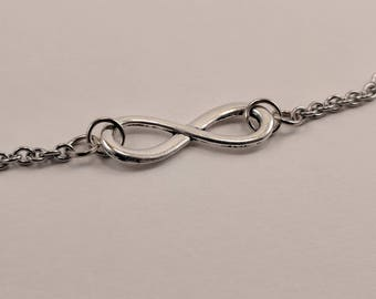Simple Infinity Necklace on Silver Stainless Steel Chain