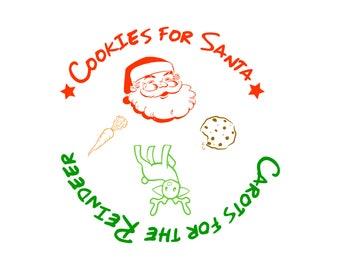 cookies santa SVG, Silhouette cookies santa, santa vector, santa reinbree Cut Files, Svg Files, Cricut Files, santa Silhouette Files