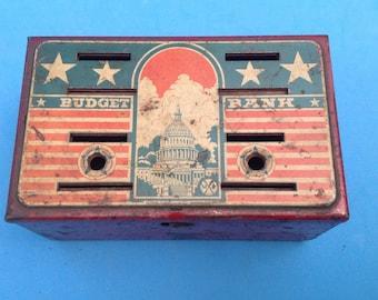 Vintage antique old painted metal budget bank - no key