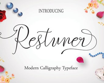 Calligraphy Font,  Swirly Font, Wedding Watercolor, Christmas font, Handwritten Script  Instant Download - Restuner Font