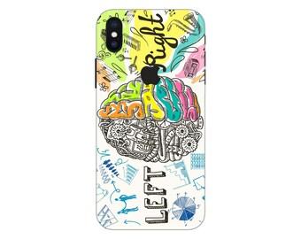 Brain iPhone Skin left and right brain iPhone decal iPhone sticker iPhone 5 decal iPhone 6 iPhone x case SE 5s 6s 7s 7 plus 8 plus 10 PS337
