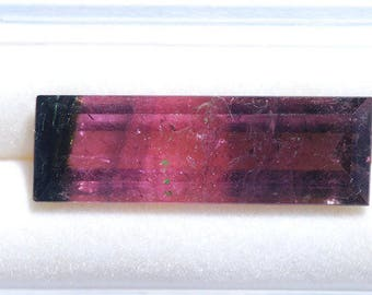 Watermelon Tourmaline, tricolor Faceted, Deep Green, through Pink Color, 13.00ct, 27 x 9mm, C2406
