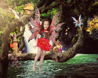 Fairy Village Digital Background, Fairy Village Digital Backdrop, Fairy Digital Backdrop, Fairy Digital Background, Magical Forest Backdrop