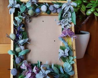 Valentine gift / home decor -- handmade gold floral frame --  boho -- romantic -- Rustic --botanical -- unique gift - bedroom, nursery